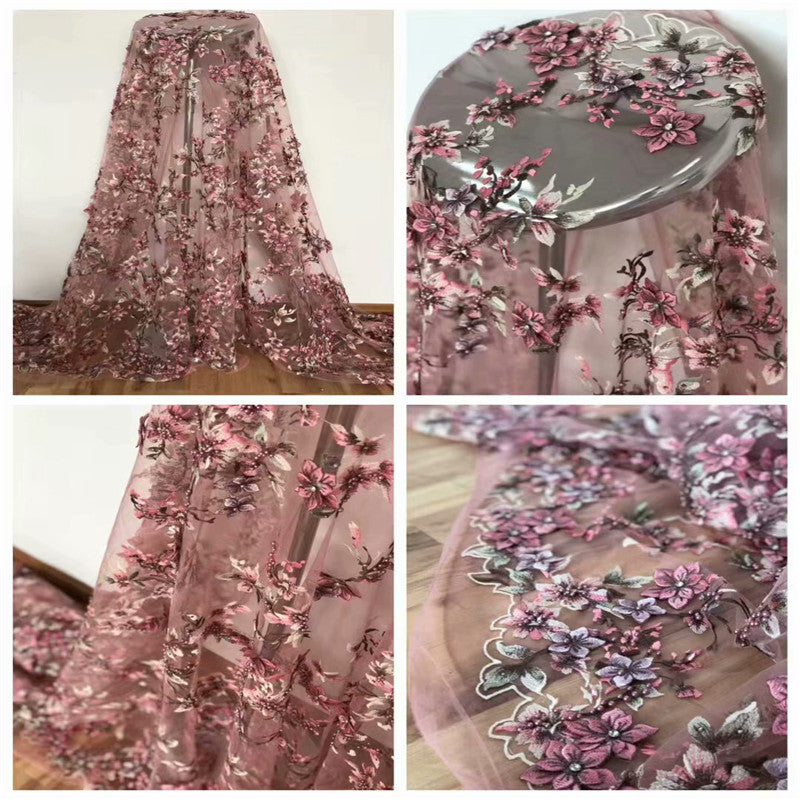 Pink lace fabric 3D African Flower Embroidered Tulle Lace, Pearls African Lace Fabric 2018 High Quality Handmade lace H1453