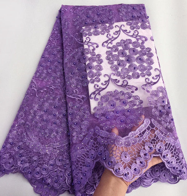 Plain Lilac Lovely cord embroidery french lace African tulle lace fabric for sewing 5 yards high quality Wise choice