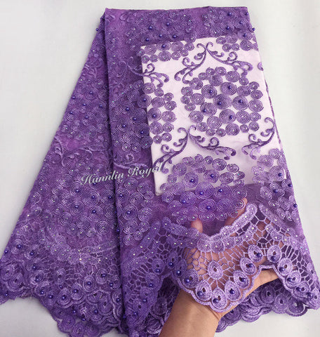 Image of Plain Lilac Lovely cord embroidery french lace African tulle lace fabric for sewing 5 yards high quality Wise choice