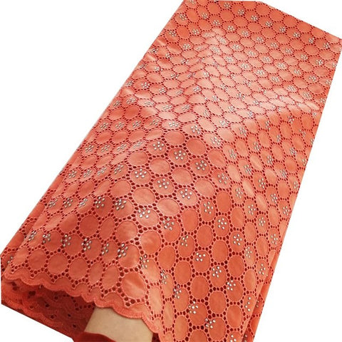 Image of Plain Orange African Swiss lace voile fabric cotton 100% with holes suitable for men and women shine high quality Wise Choice