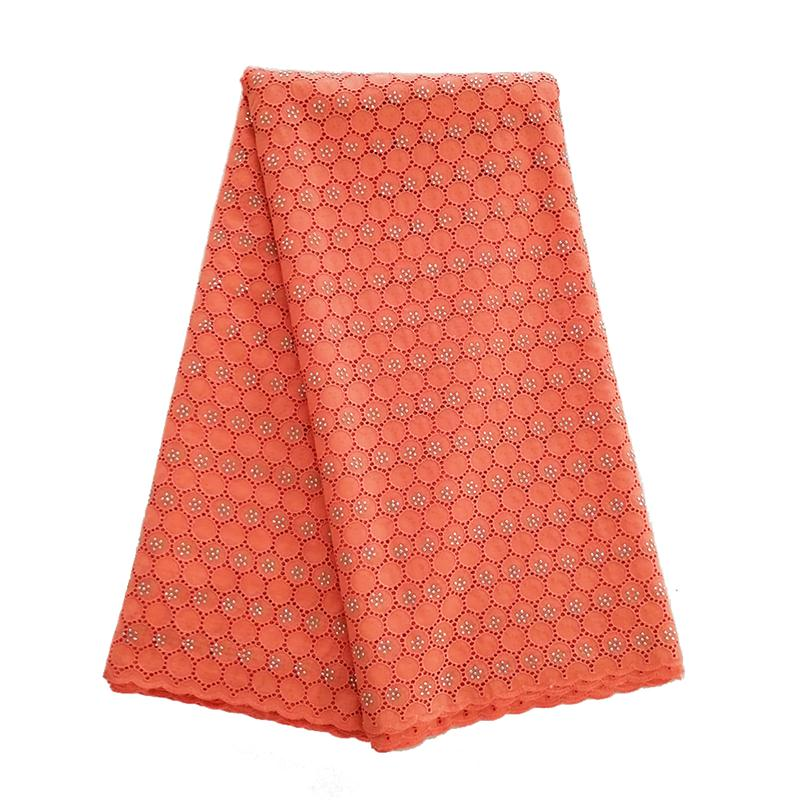 Plain Orange African Swiss lace voile fabric cotton 100% with holes suitable for men and women shine high quality Wise Choice