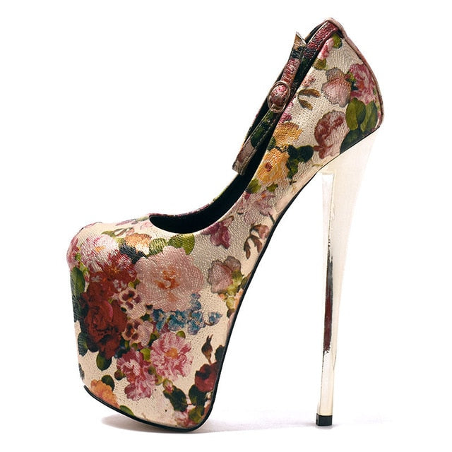 Plus Size 48 19cm Extreme High Heels Sexy Ethnic Fetish Round Toe stiletto Shoes Flower Print Leather Office party Lady Pumps
