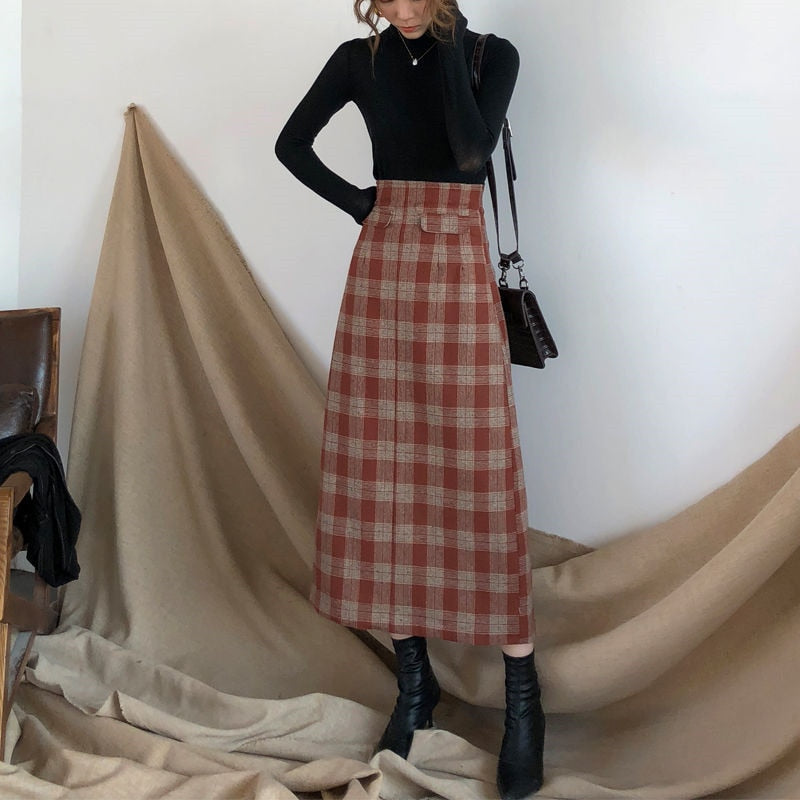 Plus Size High Waist Long Wool Plaid Skirt For Women Red Warm Wool Elegant Office Lady Vintage Skirt Autumn Winter Maxi Skirts