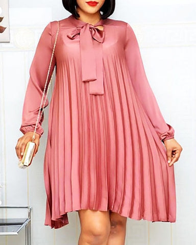 Image of Plus Size Pleated Dresses with Bowtie Long Lantern Sleeves Knee Length Women Fashion Summer Autumn Female African Vestidos New