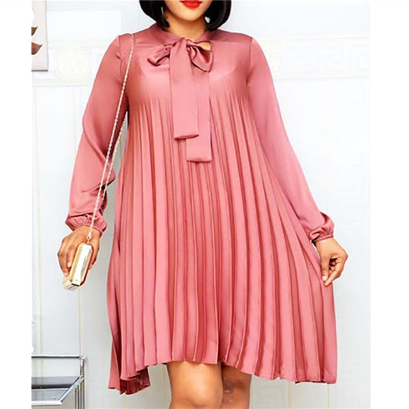Plus Size Pleated Dresses with Bowtie Long Lantern Sleeves Knee Length Women Fashion Summer Autumn Female African Vestidos New