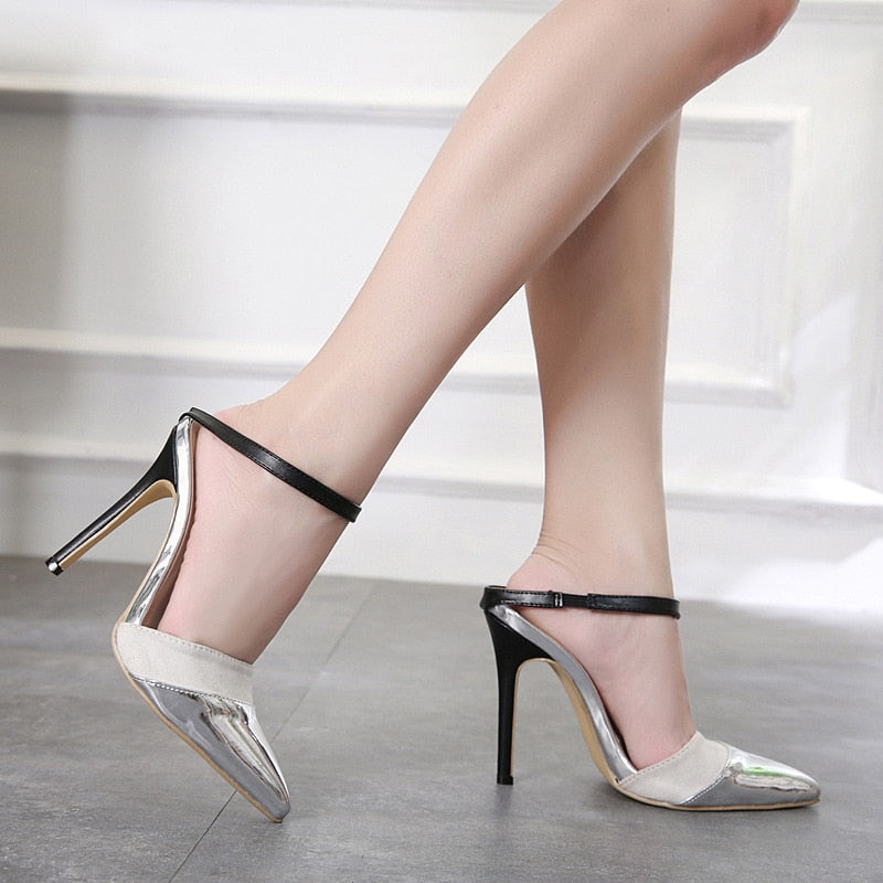 Pointed stiletto sandals summer new color matching sexy sandals half care fashion shoes.
