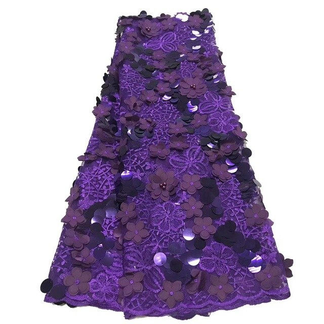 Purple 3D lace fabric high quality 2020 african sequins lace fabric for nigeran aso ebi wedding dresses lace fabric