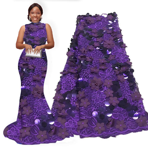 Image of Purple 3D lace fabric high quality 2020 african sequins lace fabric for nigeran aso ebi wedding dresses lace fabric