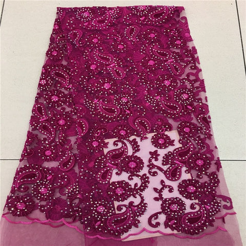 Image of Purple African Lace Fabric 2018 High Quality African Tulle Lace Fabric With nice Velvet French Net Lace For Women Dress AD042