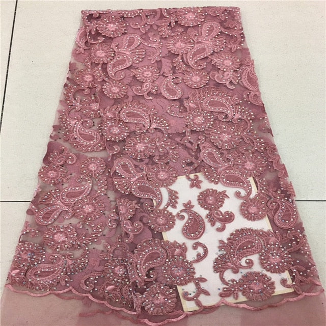 Purple African Lace Fabric 2018 High Quality African Tulle Lace Fabric With nice Velvet French Net Lace For Women Dress AD042