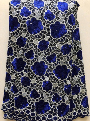 Image of ROYAL BLUE African Lace Fabric 2019 High Quality Lace, Pearls Embroidery Tulle Lace Fabric, African Lace stones 5 Yards NLL3340