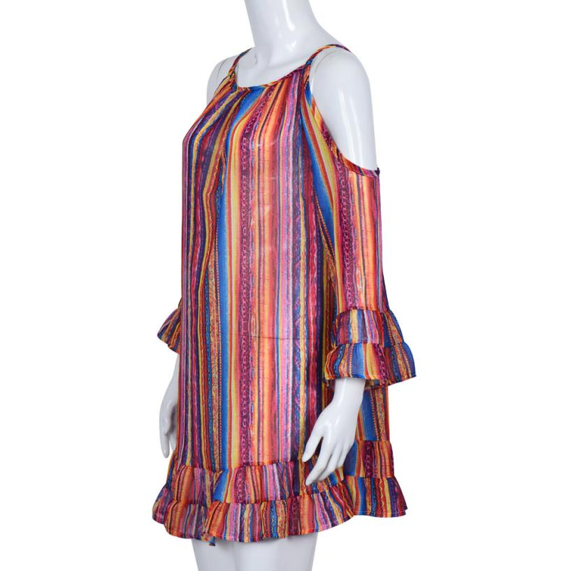 Rainbow Printed Dress Women Summer SexyOff Shoulde Striped Boho Beach Sundress Ladies Casual A-Line Mini Party Dresses  Fringed