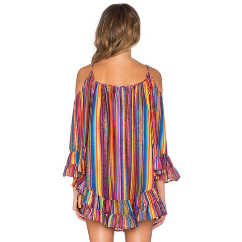 Image of Rainbow Printed Dress Women Summer SexyOff Shoulde Striped Boho Beach Sundress Ladies Casual A-Line Mini Party Dresses  Fringed