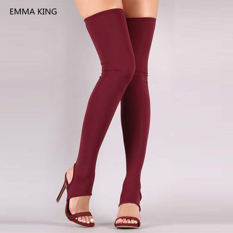 Image of Red Stretch Socks Boots Open Toe Rome Style Summer Over The Knee Gladiator Sandals Boots Sexy Slingbacks High Heels Women Shoes