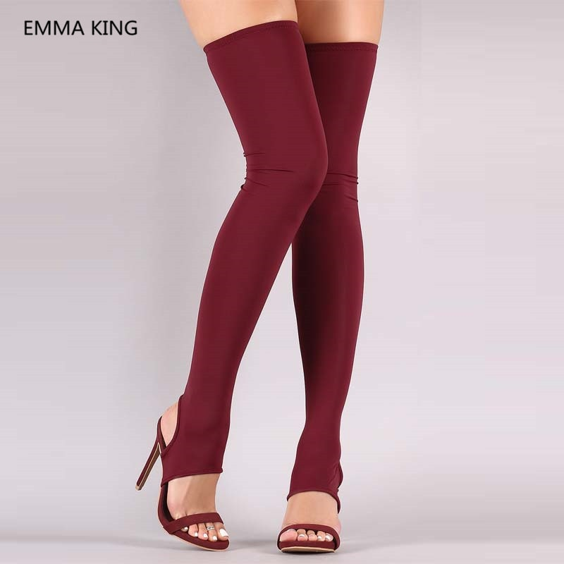 Red Stretch Socks Boots Open Toe Rome Style Summer Over The Knee Gladiator Sandals Boots Sexy Slingbacks High Heels Women Shoes
