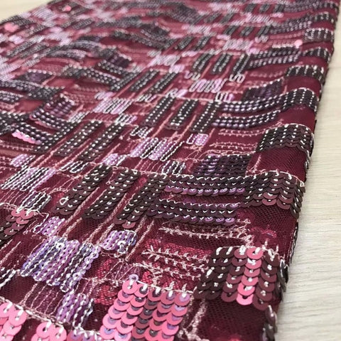 Image of Red wine African Net Lace Sequins Embroiderd High Quality French Lace Fabric Nigerian Lace Fabric For Wedding