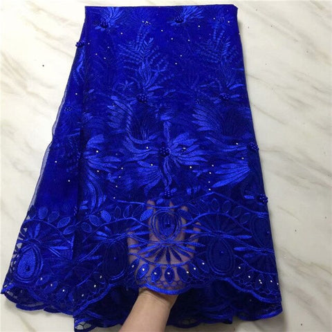 Image of Royal Blue 2019 New African Lace Fabric with bead High Quality stone French Net Wedding Nigeria Embroidered Party Dress magenta