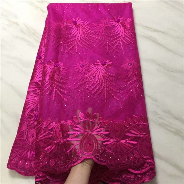 Royal Blue 2019 New African Lace Fabric with bead High Quality stone French Net Wedding Nigeria Embroidered Party Dress magenta
