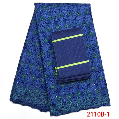 Image of Royal Blue African Cotton Lace Fabric High Quality Swiss Voile Lace Fabric With Aso Oke Nigerian Dry lace Fabric NA2110B-1