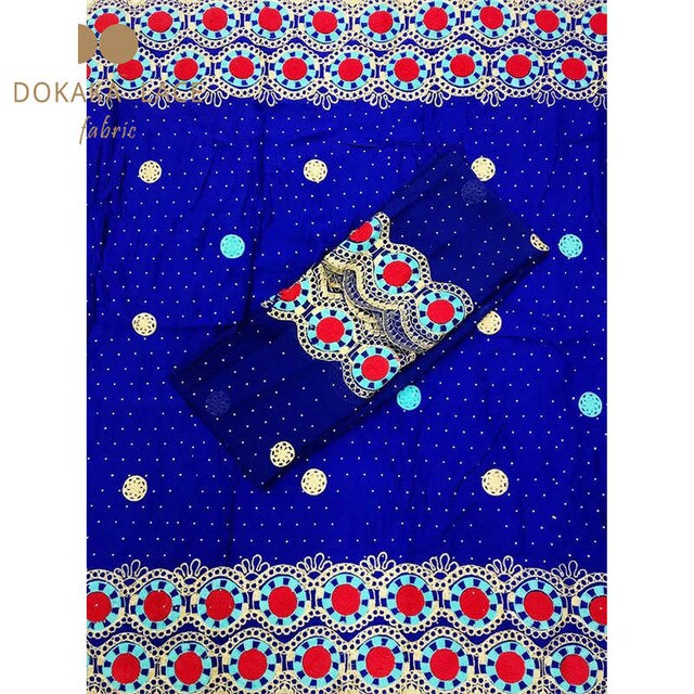 Royal Blue Color African Nigerian Cotton Lace Fabrics Embroidered Guipure Stones Laces Prom Wedding Bride Sewing Cotton Material