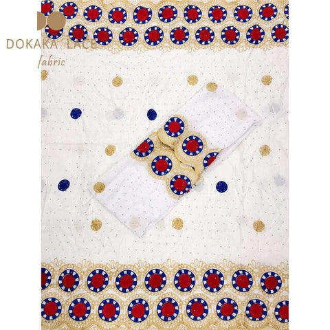 Image of Royal Blue Color African Nigerian Cotton Lace Fabrics Embroidered Guipure Stones Laces Prom Wedding Bride Sewing Cotton Material