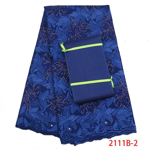 Image of Royal Blue Dry Lace Fabric High Quality Swiss Voile Lace Fabric With Aso Oke Fashion African lace Fabric For Party Dress NA2110B