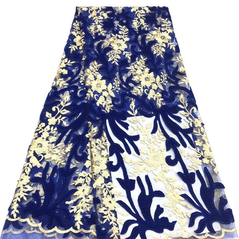 Image of Royal Blue & Gold Nigerian French Lace Fabrics African velvet Tulle Lace Fabric High Quality African Lace Wedding Fabric IG815