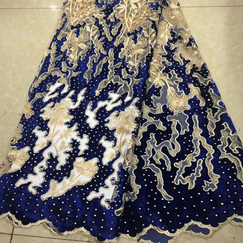 Royal Blue & Gold Nigerian French Lace Fabrics African velvet Tulle Lace Fabric High Quality African Lace Wedding Fabric IG815