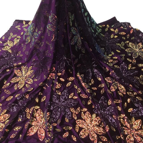Royal Blue Velvet lace fabric with sequins african lace fabric 2020 sequence nigerian lace fabric for wedding party dresses
