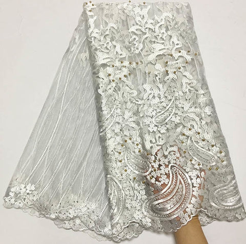 Image of Royal blue African Lace Fabric 2018 Embroidered Nigerian Laces Fabric Bridal High Quality French Tulle Lace Fabric For Party