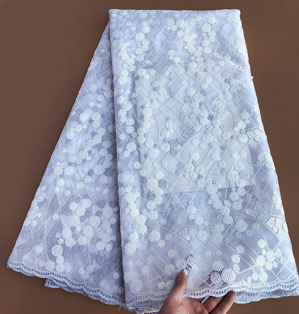 Royal blue White sequins french lace high quality African tulle lace fabric 5 yards 6254