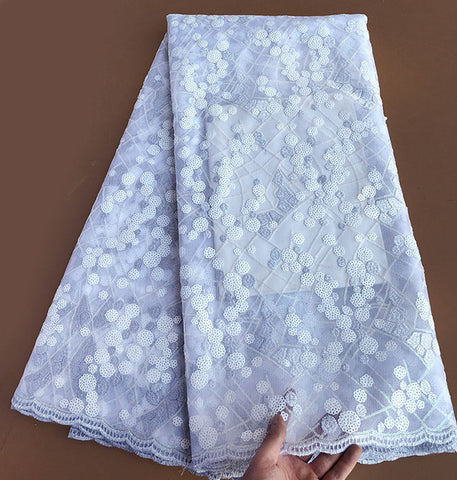 Image of Royal blue White sequins french lace high quality African tulle lace fabric 5 yards 6254