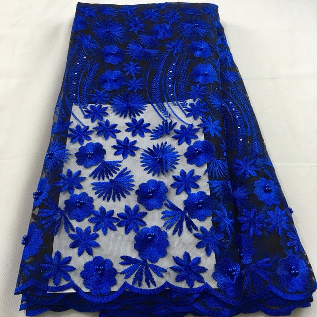 Royal blue african lace fabric 2019 high quality lace french mesh fabric beaded stones nigerian swiss lace fabrics for dressHX09