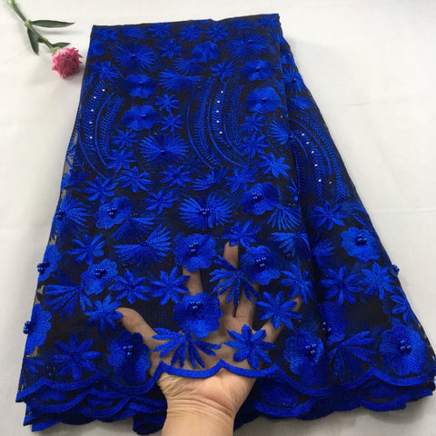 Image of Royal blue african lace fabric 2019 high quality lace french mesh fabric beaded stones nigerian swiss lace fabrics for dressHX09