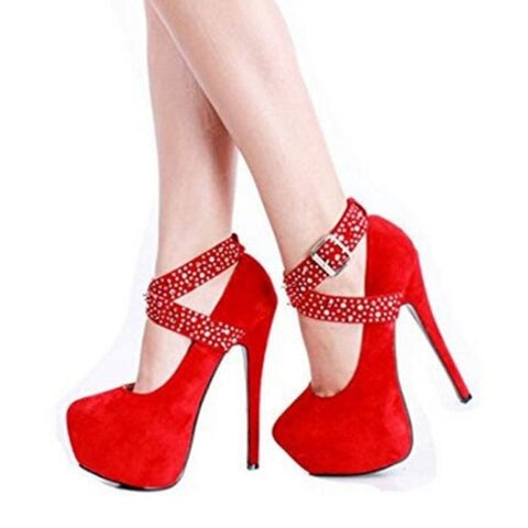 Image of SHOFOO shoes,Elegant fashion, free shipping, suede,  decoration,  14.5 cm high-heeled women's shoes, round toe pumps.