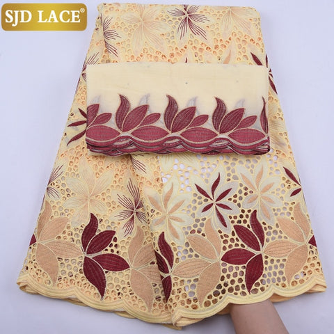 SJD LACE African Lace Fabric With Headcloth High Quality Swiss Voile Lace Small Holes Dubai Laces 5Yards+2Yards For WeddingA1929