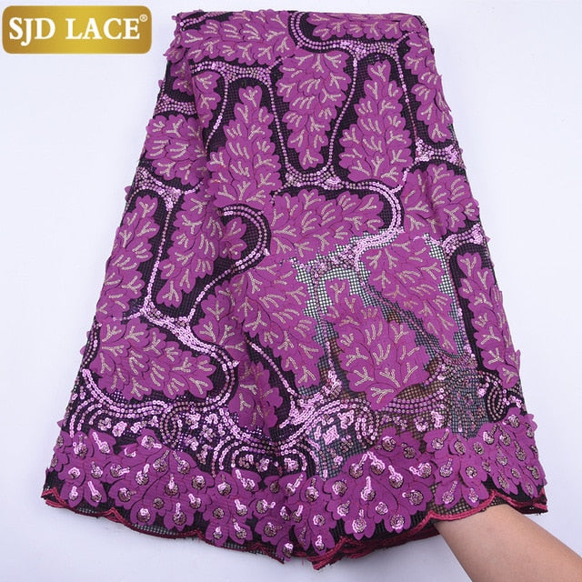 SJD LACE Fashion African Mesh Lace Fabric High Quality Sequins French Lace Fabric 3D Applique Mesh Lace For Wedding Sewing A1798