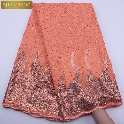 Image of SJD LACE Fashion African Mesh Lace Fabric High Quality Sequins French Lace Fabric 3D Applique Mesh Lace For Wedding Sewing A1798