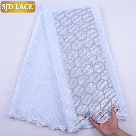 SJD LACE Pure White Swiss Voile Lace In Switzerland Embroidery African Lace Fabric With Stones Dubai Laces For Wedding Sew A2095
