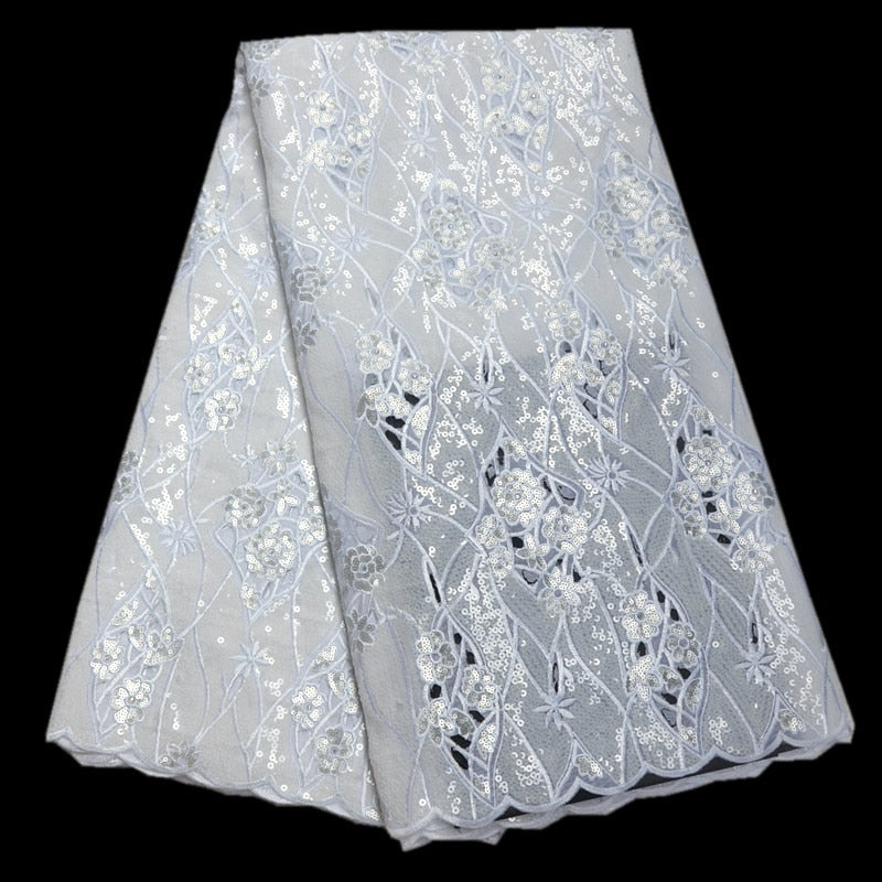 Sequin Net Fabric High Quality Hand cut Organza Lace Fabrics 2018 Embroidered African Sequin Lace Fabrics For Women party DS070