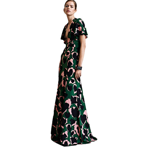 Image of Sexy Dress New High Quality Runway 2018 Spring Summer Women'S Party Office Elegant Elegant Boho Beach Printing Maxi Long Dresses