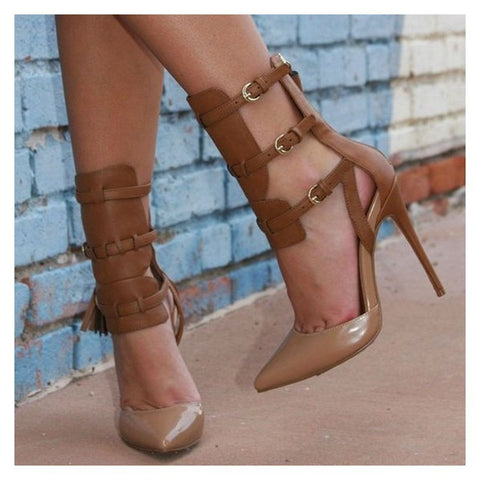 Image of Sexy Office Ladies Leather Pumps Pointed Toe High Heels Black Stiletto Heels Buckles Closed Toe Women's Sandals with Tassels 39