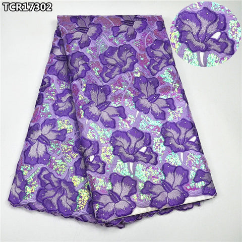 Image of Shiny sequins purple super high class Swiss lace voile fabric luxury African cotton lace fabric for bridal wedding dressTCR17302