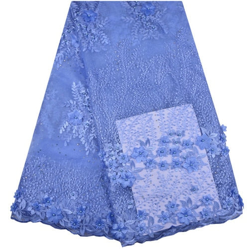 Sky Blue French Lace Fabric 3D Flowers Embroidered African Tulle Lace Fabric With Beads African Lace Fabric For Wedding  A1255