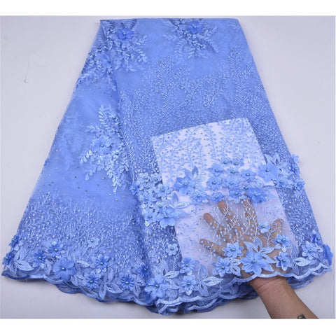 Image of Sky Blue French Lace Fabric 3D Flowers Embroidered African Tulle Lace Fabric With Beads African Lace Fabric For Wedding  A1255