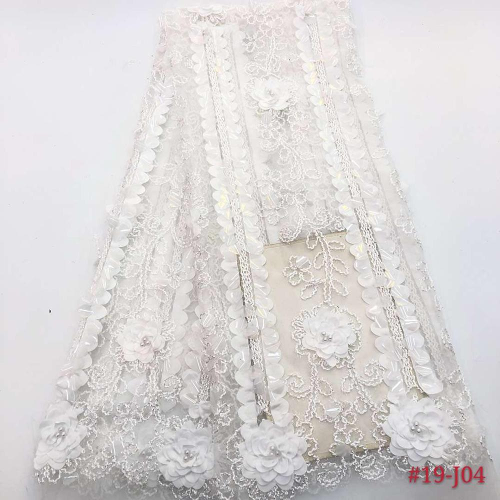 Soft Latest Embroidered 3d Lace Fabric White African Lace Fabric 2018 High Quality Lace Tulle French Lace With 3d Flower DYS225