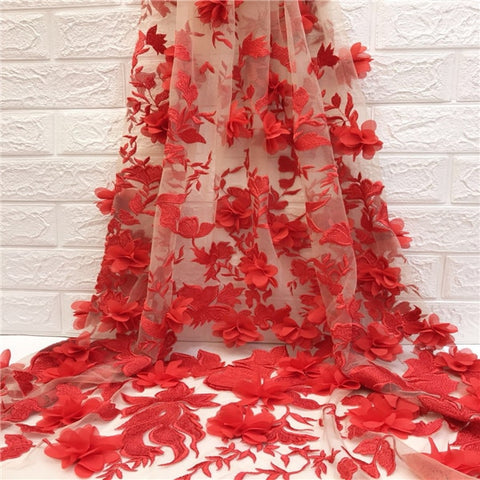 Soft Latest Embroidered 3d Lace Fabric White Red African Lace Fabric 2018 High Quality Lace Tulle French Lace With 3d Flower