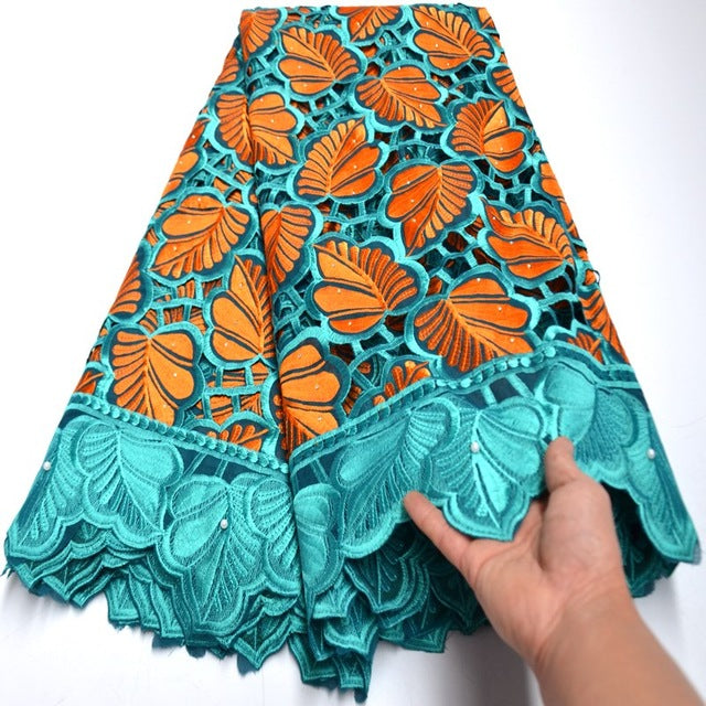 Soft swiss lace fabric handcut african lace fabric teal orange swiss voile lace in switzerland High quality mv558