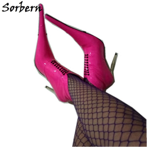 Sorbern Long Pointed Toe Women Pumps Ladyboy Sexy Fetish High Heel Stilettos Lace Up 12Cm 14Cm 16Cm 18Cm Plus Size Shoes 6-16
