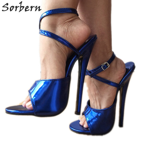 Image of Sorbern Metallic Blue Sandals Size 43 Women Shoes 18Cm Stiletto Heel Wrap Strap Sandals Slingbacks Heels For Women Runway Shoes